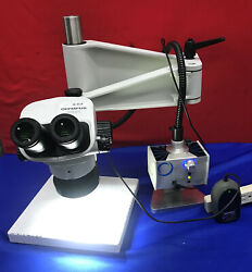 Olympus Sz61 Microscope With Schott Mls Led Stand And Light Mcid 77146