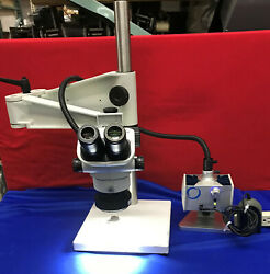 Olympus Sz61 Microscope With Schott Mls Led, Stand And Light Mcid 77150