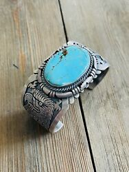 F. Charley Kingman Turquoise And Sterling Silver Cuff Bracelet Signed