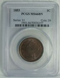 1853 Braided Hair Large Cent Penny Pcgs Ms66 Bn Certified - Jc329