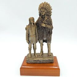 Native American Chief And Son Sculpture Pewter Michael Ricker 1983 Limited Ed