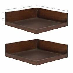 Levie Modern Floating Corner Wood Wall Shelves,12x12 Inches,2 Pack,walnut Brown