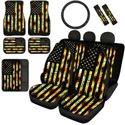 Sunflowers Women Car Seat Covers Front And Rear Floor Mats Car Accessory 12/14pc