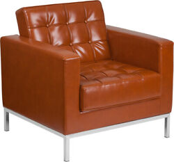 Flash Furniture-hercules Lacey Series Contemporary Cognac Leather Soft Chair ...