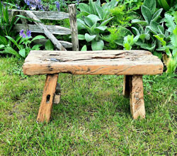 Antique Wooden Stool, Small Rustic Side Table, Farmhouse Decor