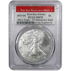 2021 S Type 1 American Silver Eagle Dollar Coin Ms 70 Pcgs First Day Of Issue