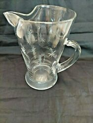 Cocktail Pitcher Mid Century Etched Shooting Stars Clear Glass 7 3/4 Fostoria