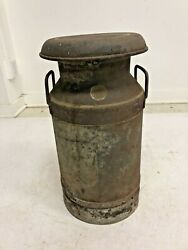 Vintage Milk Can W Lid Metal Rustic Dairy Container Country Rustic Spout Burrell