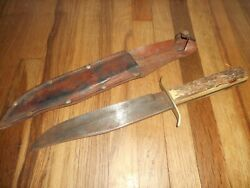 Vintage Ec Solingen Germany 83x Bowie Fixed Blade Knife And Sheath