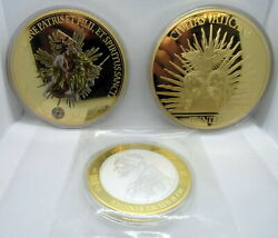Lot 3 Holy Trinity American Mint Layered 24k Gold Popes Medal Coin