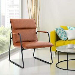 Living Room Bedroom Accent Chair Retro Modern Soft Arm Chair Sofa Chair Brown