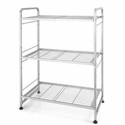 3-tier Stackable Wire Shelving Unit Storage Rack, Expandable And Silver
