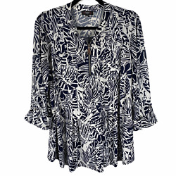 Cocomo 1/4 Zip Stretchy Blouse Size 2x Blue And White Print 3/4 Sleeves