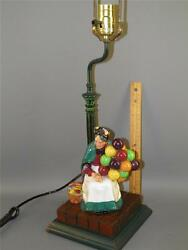 Royal Doulton Earlier Issue Old Balloon Seller Figurine Lamp Painted Wood Base