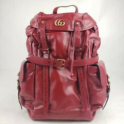 Re Belle Red Leather Backpack W/gold Tiger Head And Gg Charm 526908 8355