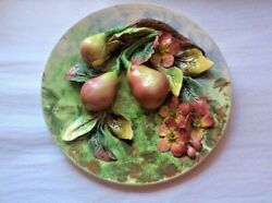 Antique French Majolica Palissy Pears And Flowers Wall Plaque Platter Art