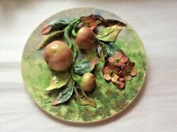 Antique French Majolica Palissy Apples And Flowers Wall Platter Art