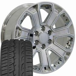 5661 Chrome 22x9 Wheels And 285/45r22 Tires Fit Gmc Cadillac Chevrolet