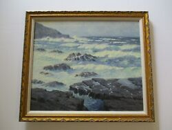 Holladay Coastal 1940's California Plein Air Landscape Painting Antique Early