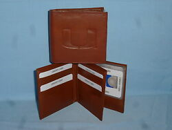 Miami Hurricanes  Leather Bifold Wallet  New  Brown 4 +