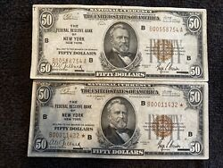 1929 Star 50 New York National Note Super Rare Will Include The Second Note