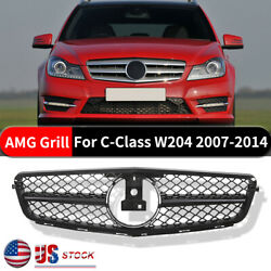 For Mercedes-benz C-class W204 C250 C300 Amg 2007-2014 Grill Grille Gloss Black