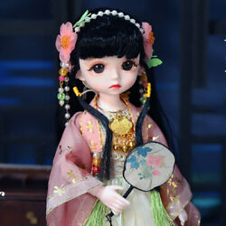 1/6 Girl 30cm Mini Bjd Doll With Face Makeup Eyes Black Hair Shoes Clothes Toys