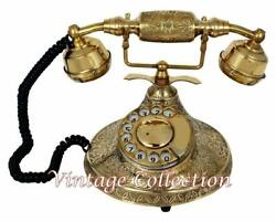 Nautical Brass Vintage Rotary Phone Old Fashioned Telephone French Victorian
