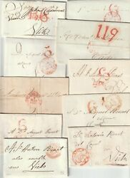 1841/8 10 X Spain Pre-stamp Letters To Vich 1 To Cadiz Stampless - Espana