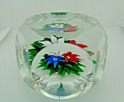 1978 Saint Louis Crystal Upright Bouquet Faceted Flower Latticino Paperweight