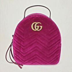 Marmont Violet Quilted Velvet Chain/leather Straps Backpack 524568 5671