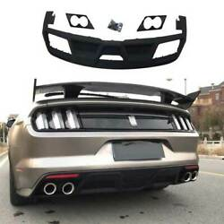 For Ford Mustang 2015-2017 Gt350 Black Rear Bumper Lip Diffuser Bodykit 4-outlet