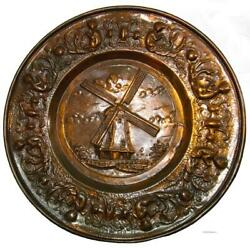 Copper Wall Hanging Plate Plaque Windmill Made Holland 60s Vintage 37 Cm / 14.5