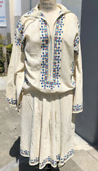 Charming Antique 1920andrsquos Hungarian Embroidered Boho Peasant Dress And Blouse