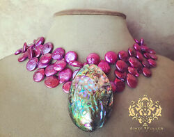 Abalone Chunky Pendant Statement Necklace Hot Pink Magenta Coin Pearl Jewelry