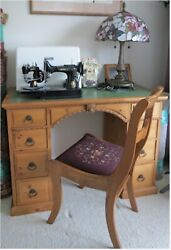 Antique Lions Head Leather Top Partner Desk And Needlepoint Chair