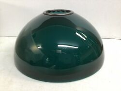 Rare Form Antique Emerald Green Cased Glass Oil Student Lamp Shade W/ Brass Ring