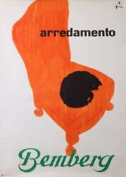 Gruau Bemberg Arredamento The Cat And Its Armchair 1965 Vintage Poster