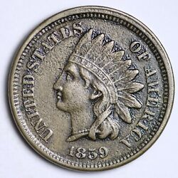 1859 Indian Head Small Cent Choice Au Free Shipping E109 Whv