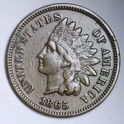 1865 Indian Head Small Cent Choice Au Free Shipping E115 Jng