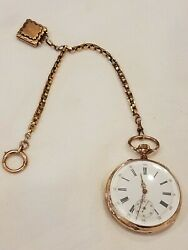 Antique Gold Ancre Ligne Droit 18 Rubis Pocket Watch W/ Chain And Locket