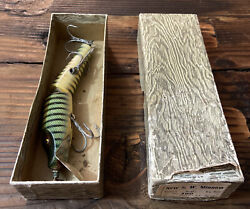 Rare Vtg Large Wooden New S.w. Minnow No. 160 Jointed Fishing Lure Original Box