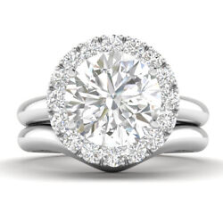 1.29ct D-si1 Diamond Round Engagement Ring 14k White Gold Any Size