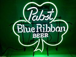 Pbr Pabst Blue Ribbon Beer Clover Real Neon Sign Beer Bar Light Lamp Home Decor