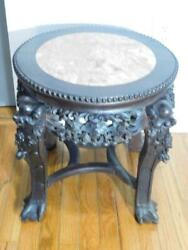 Antique Hand Carved Woodandmarble Chinese/asian/oriental Plant Stand/table