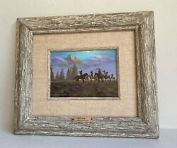 Vintage 1996 Original Signed Western Painting By Frank Magsino-titled Deciding