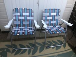 Set Of 2 Vintage Aluminum Webbed Folding Lawn Chairs With Cup Holders Free Ship