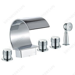 Waterfall Bathtub Faucet Deck Mount Chrome Tub Filler Tap With Handheld Shower