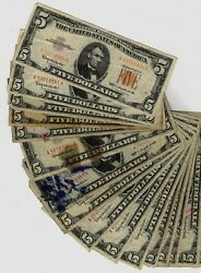 19 1963 5.00 Red Seal United States Legal Tender Notes Lower Grades Cheap