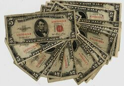 15 1953 5.00 Red Seal United States Legal Tender Notes Lower Grades Cheap